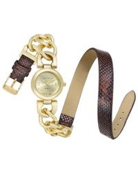 Charter Club Women's Gold Tone Link And Brown Faux Snakeskin Double Wrap Polyurethane Strap Watch 25Mm 17193 Only At Macy's