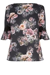 Oasis Gothic Bloom Flute Sleeve Top Multi Coloured Multi Coloured