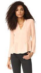 Rebecca Taylor Long Sleeve Georgette Peplum Top Ballet
