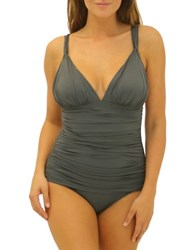 Fit 4 U Shirred One Piece Swimsuit Charcoal Grey
