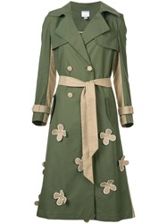 Huishan Zhang Floral Applique Trench Coat Green