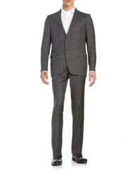 Black Brown Henry Fit Two Piece Wool Suit Grey