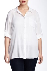 Susina Gauze Blouse Plus Size White