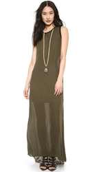 Haute Hippie Sleeveless Stripe Gown Military Black