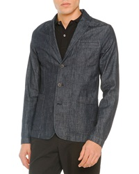 Tomas Maier Denim 3 Button Blazer Navy