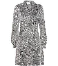 Saint Laurent Leopard Print Silk Dress White