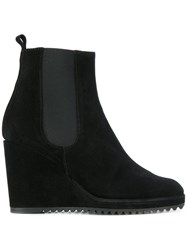 Castaner Fitted Wedge Boots Women Leather Suede Rubber 40 Black