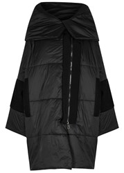 Crea Concept Black Quilted Shell And Wool Coat