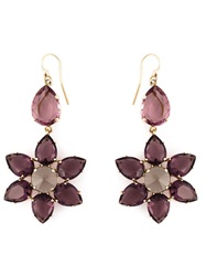 Alberta Ferretti Crystal Flower Drop Earrings Pink And Purple