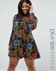 Ax Paris Plus Swing Dress In Floral Print Black