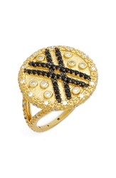 Women's Freida Rothman 'Double Helix' Pave Stripe Cocktail Ring