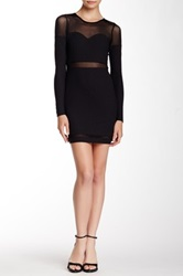 Fire Mesh Sleeve Bodycon Dress Black