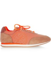 Tory Burch Davies Neon Suede And Mesh Sneakers Bright Orange