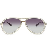 Kris Van Assche Kva78 Straight Browline Aviator Sunglasses Clear And Silver