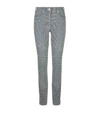 Escada J223 Straight Zebra Print Jeans Female Grey