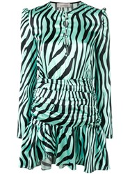 Laneus Zebra Print Mini Dress Green