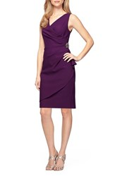 Alex Evenings Women's Side Ruched Dress Summer Plum