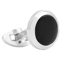 Thomas Pink Onyx Circle Cabochon Cufflinks Silver Black
