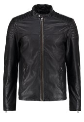 Jack And Jones Jorleather Leather Jacket Black