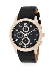 English Laundry Rose Goldtone Stainless Steel Chronograph Black Leather Strap Watch Black Rose Gold