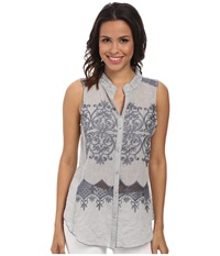 Dylan By True Grit Sleeveless Stripe W Lace Embroidery Indigo White Women's Clothing Navy