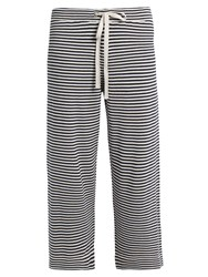 Max Mara Mirko Silk And Cotton Blend Trousers Navy Stripe