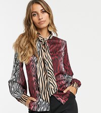 Y.A.S Mixed Animal Printed Blouse With Pussy Bow Red