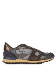 Valentino Rockrunner Butterfly Print Trainers Blue Multi
