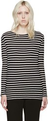R 13 Black And White Boatneck T Shirt