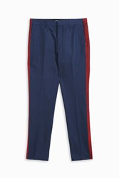 Msgm Men S Side Stripe Chino Trousers Boutique1 Navy