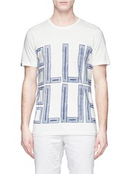 Denham Jeans Blue Blue' Print Cotton T Shirt White