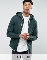 Asos Tall Zip Up Hoodie In Khaki Cactus Green