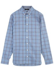 Jaeger Overpane Check Relaxed Fit Shirt Light Blue