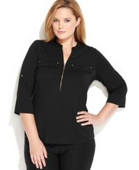 Calvin Klein Plus Size Roll Tab Sleeve Zip Front Shirt Black