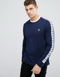 Fred Perry Slim Fit Sports Authentic Taped Long Sleeve T Shirt In Navy Carbon Blue