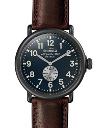 Shinola Runwell 47Mm Watch With Brown Leather Strap