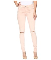 Hudson Nico Mid Rise Super Skinny In Sunkissed Pink Destructed Sunkissed Pink Destructed Women's Jeans