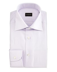 Ermenegildo Zegna Textured Glen Plaid Woven Dress Shirt Lavender Purple