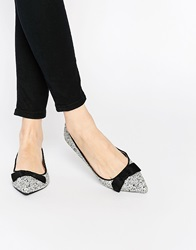 Oasis Glitter Bow Pointed Flat Shoes Multi