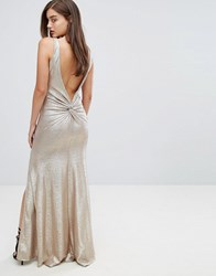 Tfnc Highneck Metallic Maxi Dress With Back Knot Gold