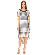 Alberta Ferretti Short Sleeve Striped Cape Dress Blue White Women's Dress