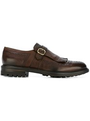 Doucal's Fringed Monk Shoes Brown
