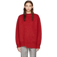Calvin Klein 205W39nyc Red Oversized Needle Punch Knit Sweater