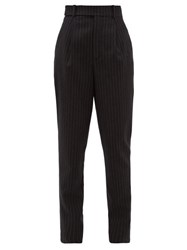 Saint Laurent Pinstriped High Rise Wool Trousers Black White