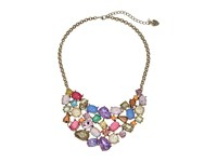 Betsey Johnson Mixed Multicolored Stone Bib Necklace Multi Necklace