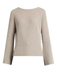 Helmut Lang Flared Sleeve Wool And Cashmere Blend Sweater Beige