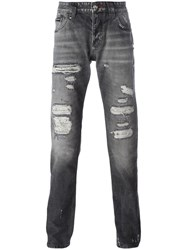 Philipp Plein Distressed Straight Leg Jeans Grey