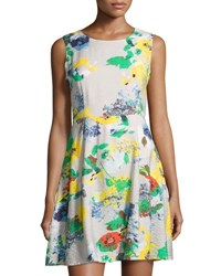 P. Luca Sleeveless Printed A Line Dress Yellow Pattern