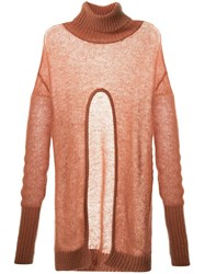 Taylor Subdued Curved Cut Out Jumper Brown