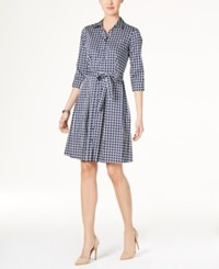 Charter Club Cotton Roll Tab Printed Shirtdress Only At Macy's Intrepid Blue Combo